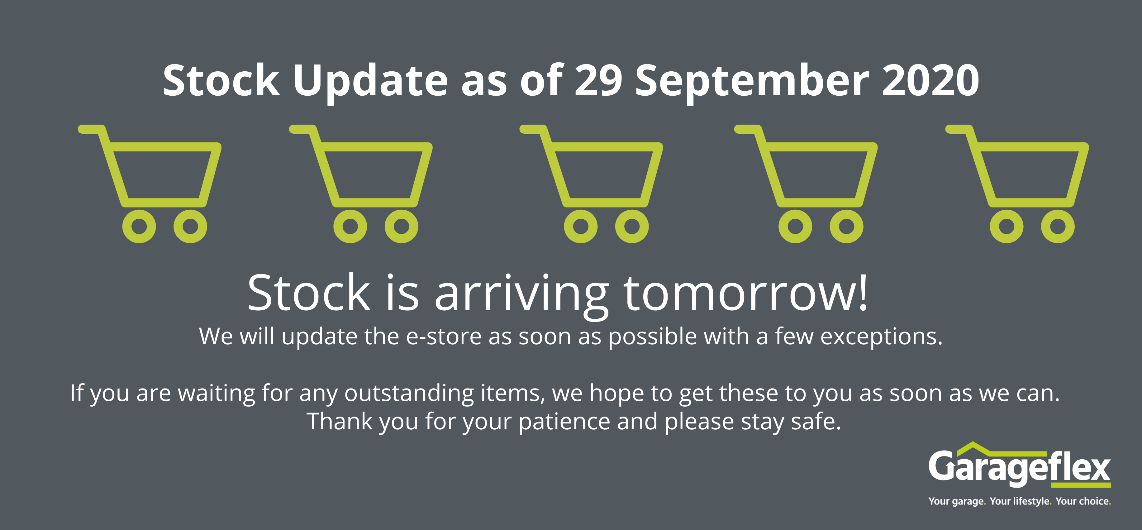 Estore stock update 29 September 2020